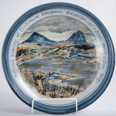 Highland Stoneware Hand Painted Lochinver Harbour Large Bowl Charger Dish 1992