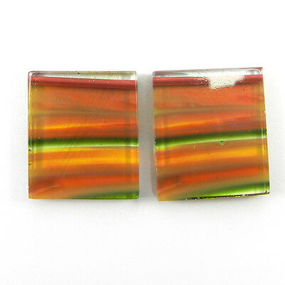 Nice !! 1 Pair Mexican Glass Gemstone 18x22mm Rectangle Cab 33.2 Ct Stone ER8992