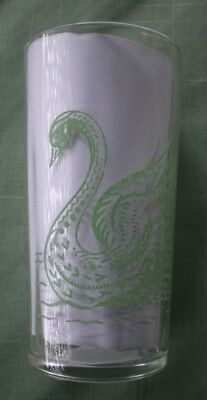 Retro Vintage Swanky Swig Promotional Glass - Green Swans - Hard to find design