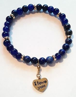 Bracelet Lapis Lazuli & Or ...  I Love You