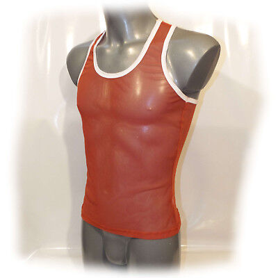 Men's vest Muscle Shirt transparent Netz anatomisch geformt Size: XL (2347)