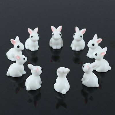 10pcs Mini Rabbit Animal Miniature Fairy Garden Decor Ornament Toys U1T6