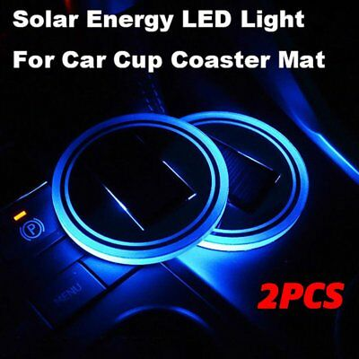 2X Solar Cup Holder Bottom Pad BLUE LED Light Cover Trim Atmosphere Lamp 68mm