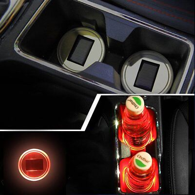 2X Solar Cup Holder Bottom Pad RED LED Light Cover Trim Atmosphere Lamp 68mm