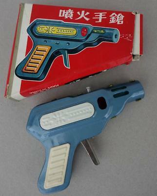 1960s MF 601 China Tin Toy Sparkling Pistol Weltraum Funken Pistole Boxed Mint