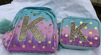 NWT Justice Girls Ombre Foil Dot Initial Backpack & Lunch Tote