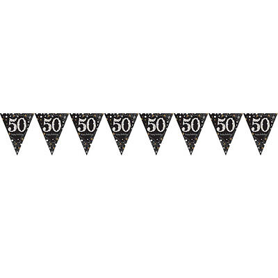 50th Birthday Pennant Flag Banner Black Silver Gold Party Decorations Age 50