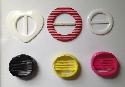 Vintage 80s Hair Accessory Pony Tail Combs Plastic Round Clips Belt Buckles Lot