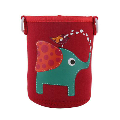 Baoblaze 600ml Water Bottle Carrier Sleeve Shoulder Strap Kids,Red Elephant