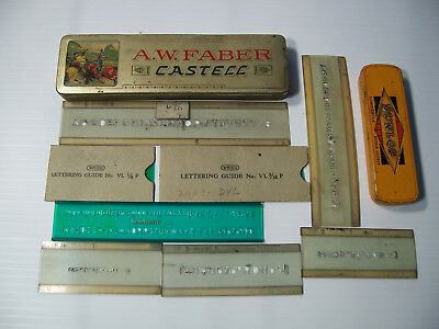 Vintage A. W. Faber Castell Pencil Holder Tin, Dunlop Tin & Lettering Guides