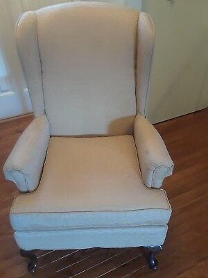Queen Anne (Ivory fabric) Vintage Wingback Arm Chair (Cherry Wood Legs)