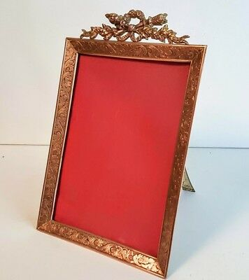 Antique French Easel Back Gilt Bronze Table Picture Photo Frame Lord & Taylor NY