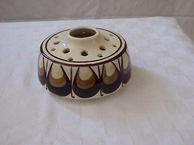 Channel Island - Jersey Pottery -  Brown Posy Pot Pourri Round Bowl
