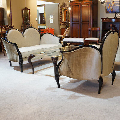 Beautiful French Love seat, 2 chairs and Coffee table set Espresso and glass