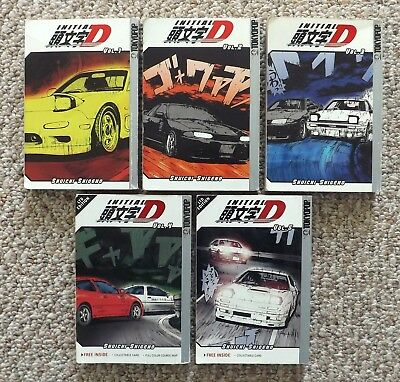 INITIAL D VOL. 1 - 5 LTD EDITION w/MAP & CARDS SHUICHI SHIGENO ~MANGA BOOK LOT