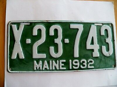 "RARE Antique MAINE License Plate 1932  #X-23-743 Great Condition 6"" x 13"""