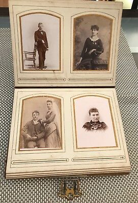 REDUCED:authentic antique embossed leather bound Victorian album with 50  photos