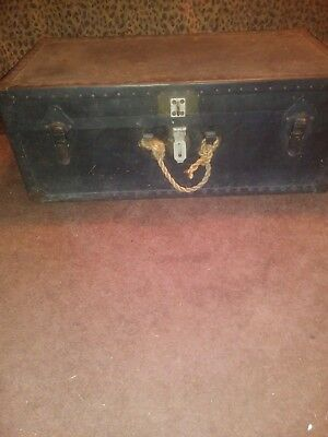 1930's ANTIQUE BLACK STEAMER TRUNK with REMOVABLE DIVIDED WOODEN TRAY