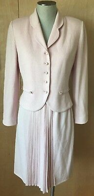St. John Collection Marie Gray pale pink knit skirt suit size 6 NICE!