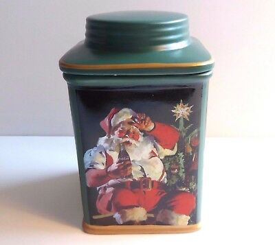 Coca Cola Holiday Portraits Stoneware Canister Cookies Christmas Santa Claus
