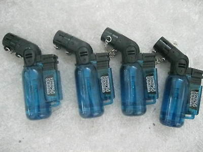 Four (4) BLUE Butane Mini-Torch Turbo Flame~Lighters~Camping~Hunt~Crafts