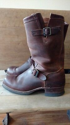 9476aebcd91 VTG ABILENE MEN Brown Leather SQUARE TOE Motorcycle ENGINEER Work ...