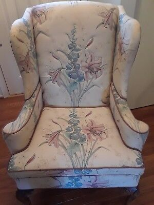 Queen Anne Vintage Wingback Arm Chair