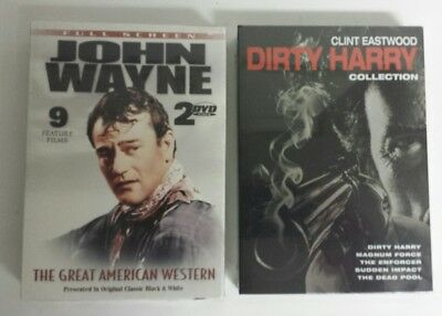 NEW Dirty Harry 5 Film Clint Eastwood + John Wayne 9 Film Collections - Sealed!