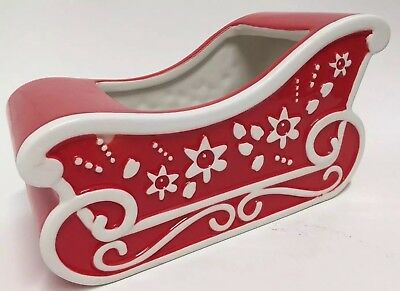 Sleigh Christmas Container Planter Red White Decoration Santa Gift Basket