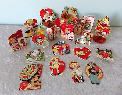 Vtg 1930s Valentine card lot mechanical stand up diecut honeycomb 21 pc dated