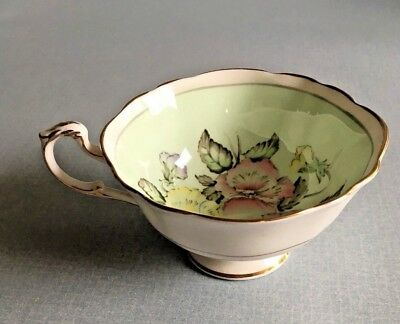 Paragon England Fine Bone China Tea Cup Green Floral with Gold Gild Scrolled Rim