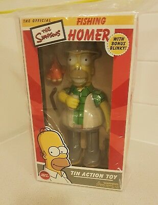 Fishing Homer Simpson Wind-up Tin Action Toy GREEN Rare Collectable Rocket USA