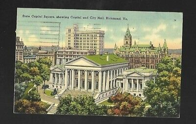 Vintage Postcard Linen State Capitol Square Richmond Virginia