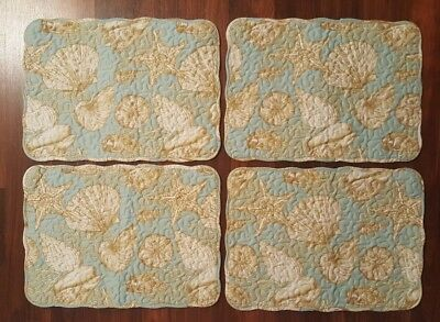Set of 4 Quilted Placemats Blue Green Coastal Sea Shell Seashell/ Striped NEW