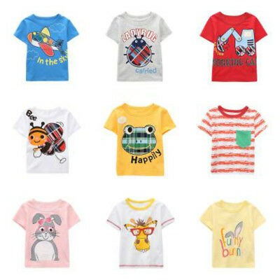 Kids Boys Girls Casual Sport T Shirts Animal Printed Comfy Baby Tops