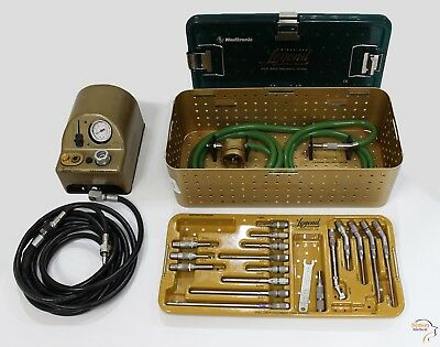 COMPLETE Medtronic Midas Rex Legend Pneumatic V02 Drill Set with 18 Attachments