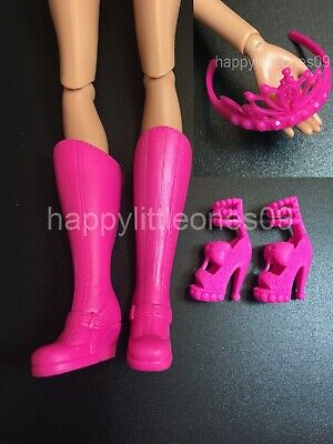 Mattel Barbie Doll Accessories Set - Tall Boots and High Heel Shoes Pink New