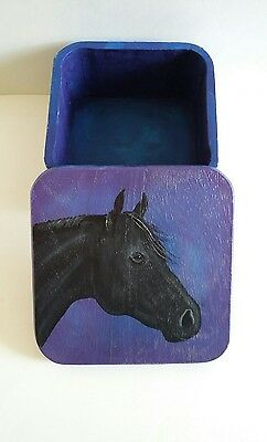 Black Horse Floral Design Hand Painted Box