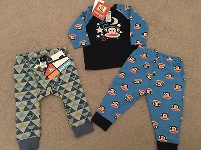 BNWT 3 Pieces Paul Frank Bundle Baby Track Pants And PJ Set Size 0 Boys Girls