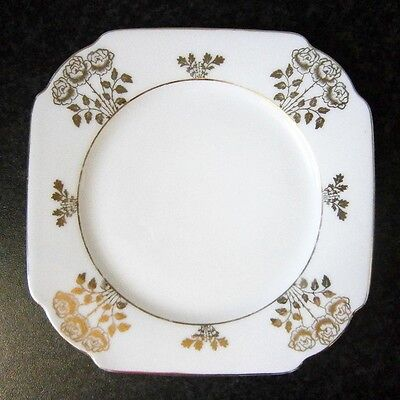VINTAGE VICTORIA CHINA CZECHOSLOVAKIA SQUARE CAKE PLATE with GOLD ROSES