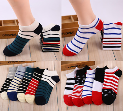 New Summer Mens Colorful Striped Socks Ankle No Show Comfortable Socks
