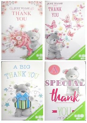 Thank you Notelets, pack of 8. Cute Thank you cards with envelopes. Free p+p
