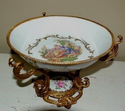 Beautiful FRENCH SEVRES HAND PAINTED BRONZE MOUNT PORCELAIN CENTERPIECE BOWL