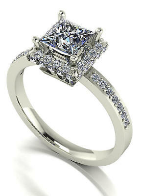 Charles And Colvard 9Ct White Gold Moissanite Halo Engagement Ring 1.55 Ct