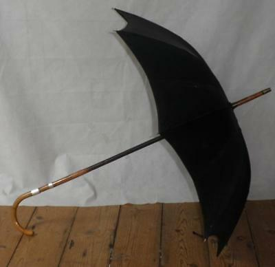 Antique Hallmarked 1906 Silver Black Canopy Umbrella W/Bamboo Crook Handle 'A.M'