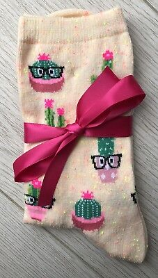 Ladies/Girls Multicoloured Pink Cactus Cotton Ankle Socks With Pink Satin Bow