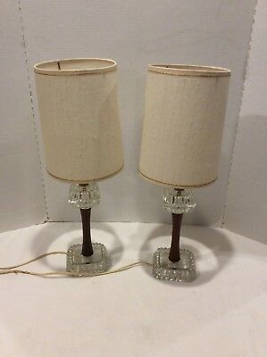 SUPER COOL Mid Century Boudoir/Vanity/Table Lamps Wood & Glass w/shades