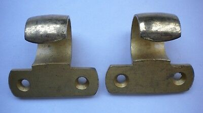 Pair of very heavy solid brass sash window lifts, original, antique, rare style