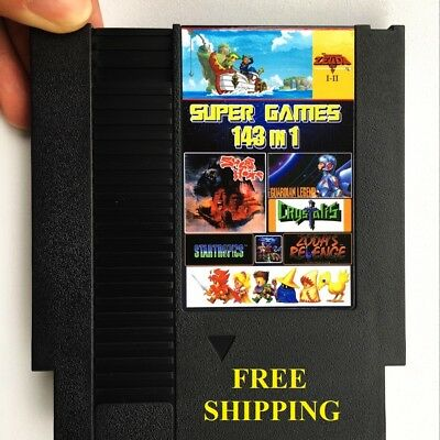 Nintendo NES Cartridge 143 in 1 Super Best Video Games 72 Pins 8 Bit USA Version