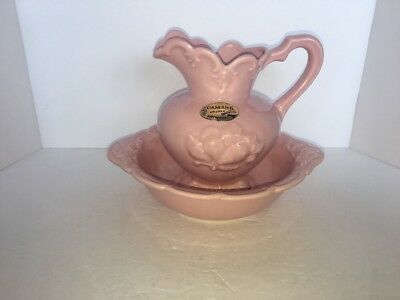 """VINTAGE CAMARK POTTERY PINK PITCHER AND BOWL 1950's 6 1/2"""""""